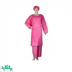 لباس بیمار گان شلوار کلاه یکبار مصرف رنگ صورتی