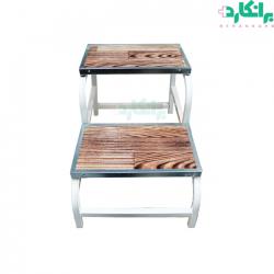 دو پله پای تخت بیمار با روکش طرح چوب